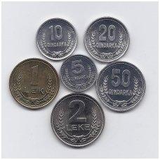 ALBANIJA 1988 - 1989 m. 6 MONETŲ RINKINYS