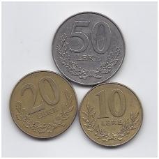 ALBANIJA 1996 m. trijų monetų rinkinukas