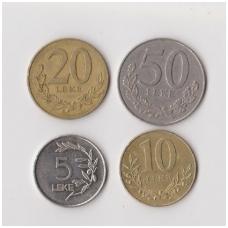 ALBANIJA 1995 - 1996 m. 4 monetų rinkinukas
