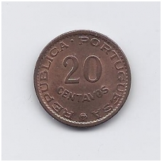 ANGOLA 20 CENTAVOS 1962 KM # 78 AU
