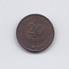 ANGOLA 20 CENTAVOS 1962 KM # 78 VF