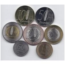 ANGOLA 2012 - 2015 m. 7 monetų rinkinukas
