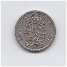 ANGOLA 2.5 ESCUDOS 1956 KM # 77 VF