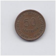 ANGOLA 50 CENTAVOS 1954 KM # 75 VF