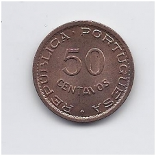 ANGOLA 50 CENTAVOS 1958 KM # 75 AU