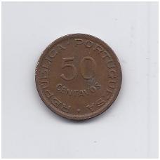 ANGOLA 50 CENTAVOS 1958 KM # 75 VF