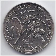 ANTIGVA 4 DOLLARS 1970 KM # 1 UNC F.A.O.
