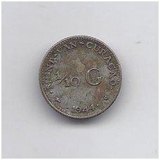 KIURASAO 1/10 GULDEN 1944 KM # 43 F