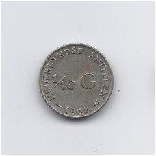 ANTILAI ( NYDERLANDŲ ) 1/10 GULDEN 1962 KM # 3 VF