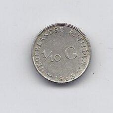 ANTILAI ( NYDERLANDŲ ) 1/10 GULDEN 1963 KM # 3 VF