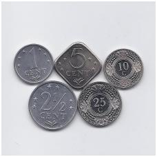 ANTILAI (NYDERLANDŲ) 1978 - 2010 m. 5 monetų rinkinukas