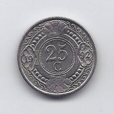 NYDERLANDŲ ANTILAI 25 CENTS 1992 KM # 35 XF