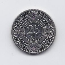 NYDERLANDŲ ANTILAI 25 CENTS 1993 KM # 35 XF