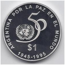 ARGENTINA 1 PESO 1995 KM # 126 PROOF JUNGTINĖS TAUTOS