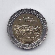 ARGENTINA 1 PESO 2010 KM # 160 XF Glacier Perito Moreno