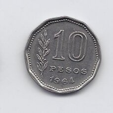 ARGENTINA 10 PESOS 1964 KM # 60 VF-XF