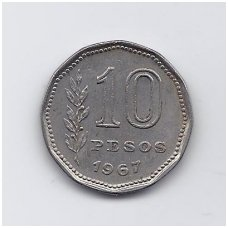 ARGENTINA 10 PESOS 1967 KM # 60 VF