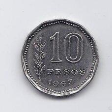 ARGENTINA 10 PESOS 1967 KM # 60 XF