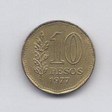 ARGENTINA 10 PESOS 1977 KM # 72 XF