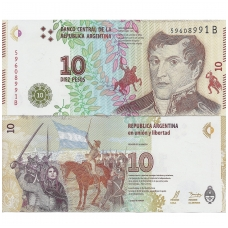 ARGENTINA 10 PESOS 2016 ND P # new UNC