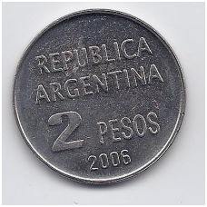 ARGENTINA 2 PESOS 2006 KM # 161 AU