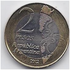 ARGENTINA 2 PESOS 2012 KM # 176 AU