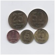 ARGENTINA 2000 - 2009 m. 5 monetų komplektas