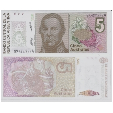 ARGENTINA 5 AUSTRALES 1985 - 1989 P # 324b UNC