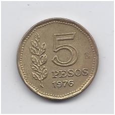 ARGENTINA 5 PESOS 1976 KM # 71 VF