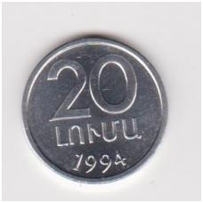 ARMĖNIJA 20 LUMA 1994 KM # 52 UNC