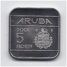 ARUBA 5 FLORIN 2001 KM # 12 UNC