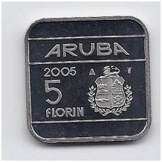 ARUBA 5 FLORIN 2005 KM # 12 UNC