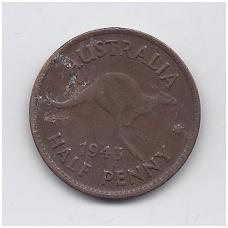 AUSTRALIJA 1/2 PENNY 1943 KM # 41 VF