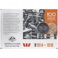 AUSTRALIJA 20 CENTS 2015 KM # new UNC ANZAKAS (KORTELĖJE)