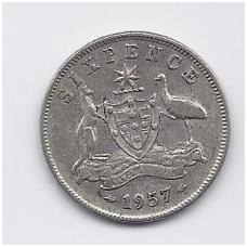AUSTRALIJA 6 PENCE 1957 KM # 58 VF