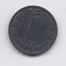 AUSTRIJA 1 GROSCHEN  1947 KM # 2873 VF