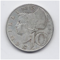 AUSTRIJA 10 SCHILLING 1958 KM # 2882 VF