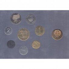 AUSTRIJA 1980 m. oficialus bankinis proof monetų rinkinys