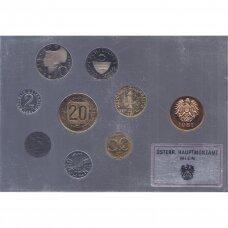 AUSTRIJA 1981 m. oficialus bankinis proof monetų rinkinys
