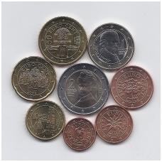 AUSTRIJA 2008 m. euro monetų komplektas ( 2 centai su juodais taškeliais )