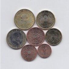AUSTRIJA 2009 m.  euro monetų komplektas be 2 eurų ( su įvairiais defektais )