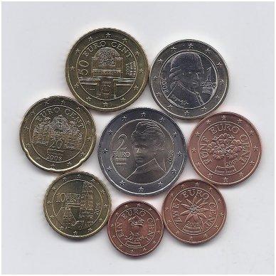 AUSTRIJA 2008 m. euro monetų komplektas ( 2 centai su juodais taškeliais ) 2