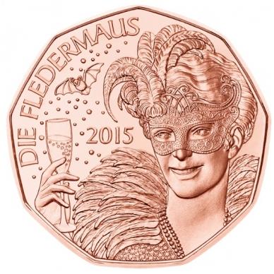AUSTRIJA 5 EURO 2015 KM # 3237 UNC NAUJAMETINĖ OPERETĖ