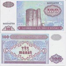 AZERBAIDŽANAS 100 MANAT 1993 (1999) P # 18b AU