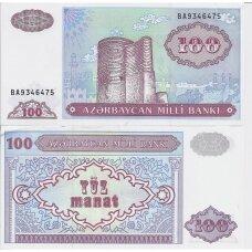 AZERBAIDŽANAS 100 MANAT 1993 (1999) P # 18b XF