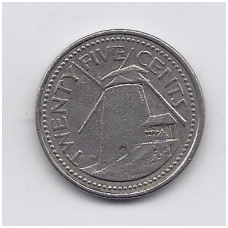 BARBADOSAS 25 CENTS 1990 KM # 13 VF