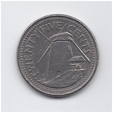 BARBADOSAS 25 CENTS 1998 KM # 13 VF