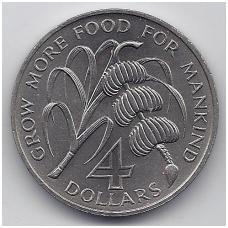 BARBADOSAS 4 DOLLARS 1970 KM # A9 UNC F.A.O
