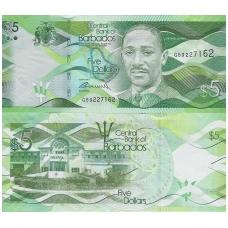 BARBADOSAS 5 DOLLARS 2013 P # 74 AU