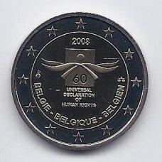 BELGIJA 2 EURO 2008 KM # 248 PROOF 60 m. žmogaus teisių deklaracijai
